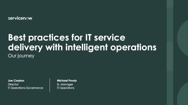 Best Practices For IT Service Delivery with Intelligent Operations