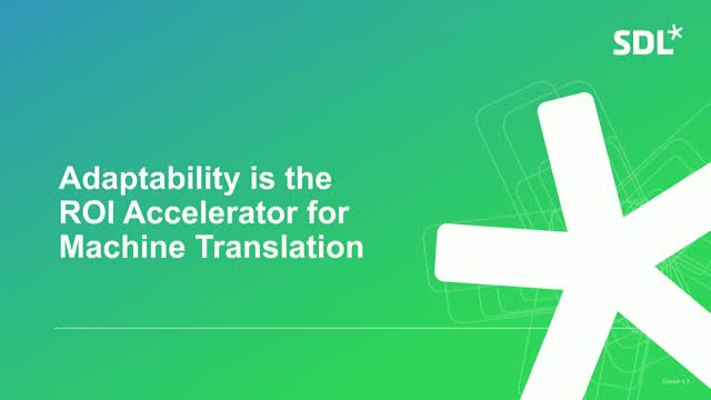 Adaptability is the ROI Accelerator for Machine Translation