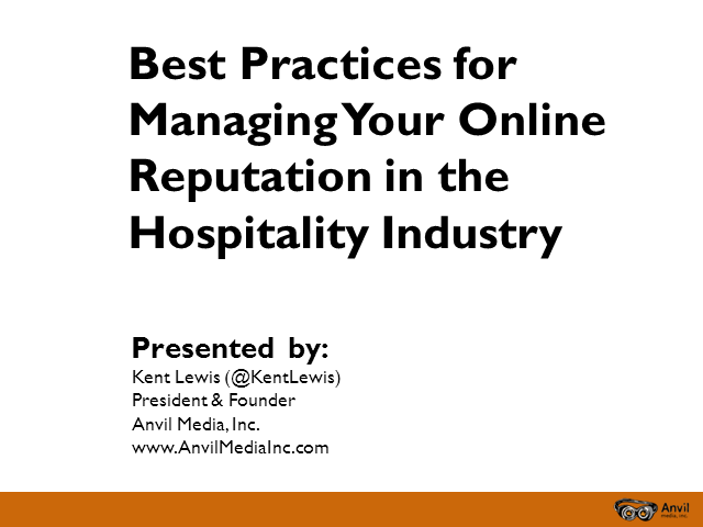Managing Your Hospitality Brand's Online Reputation
