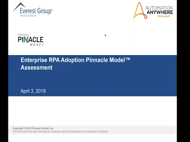 EVEREST GROUP RPA STUDY: PINNACLE ENTERPRISES GENERATE 4X THE ROI