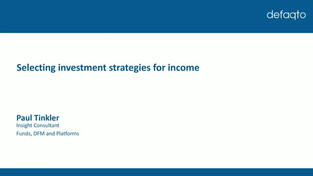 Selecting investment strategies for income