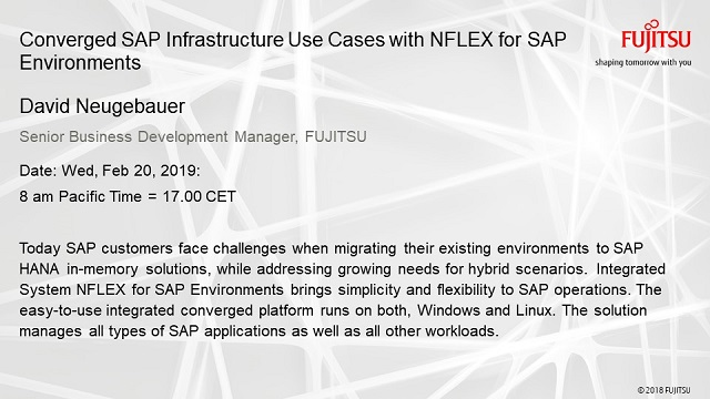 Converged SAP Infrastructure Use Cases with NFLEX for SAP Environments