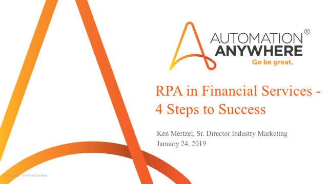 Robotic Process Automation in Financial Services – 4 Steps to RPA Success