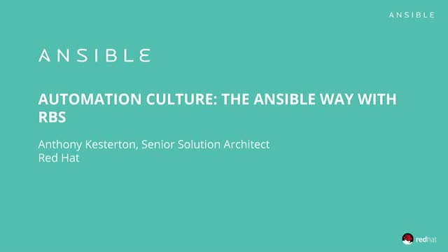 Automation Culture: The Ansible Way with RBS