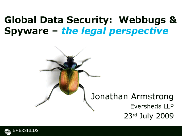 Information Security&The Law:  Webbugs & Spyware
