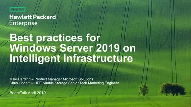 Best Practices for Windows Server 2019 on Intelligent Infrastructure