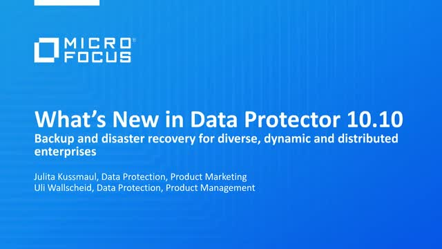 What's New in Data Protector: Introducing Data Protector 10.10