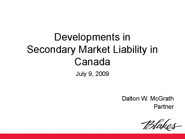 Developments in Secondary Market Liability in Canada