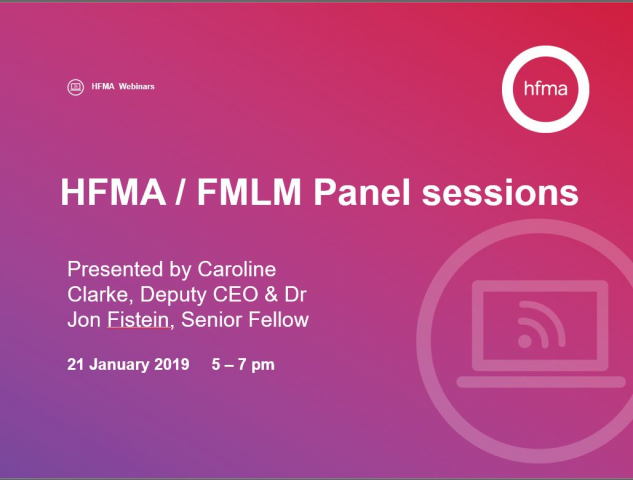 HFMA and FMLM online live panel sessions
