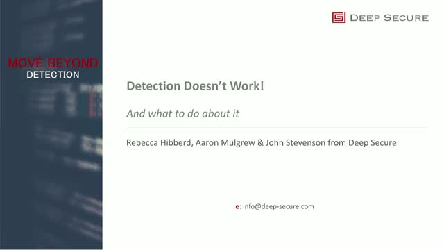Why Detection Doesn't Work