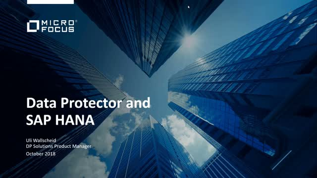 Protect SAP HANA environments with Micro Focus Data Protector: Overview and Demo