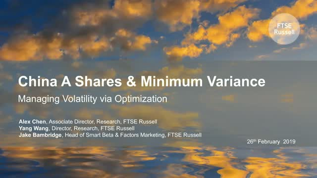 China A Shares & Minimum Variance  - Managing Volatility via Optimization