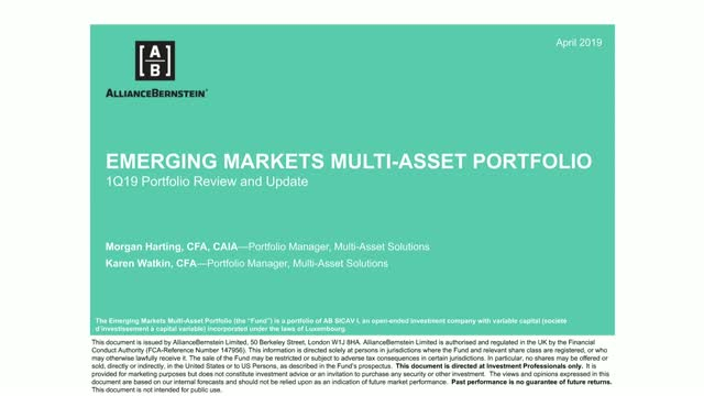 AB Emerging Markets Multi-Asset Portfolio: 1Q19 Portfolio Review and Update