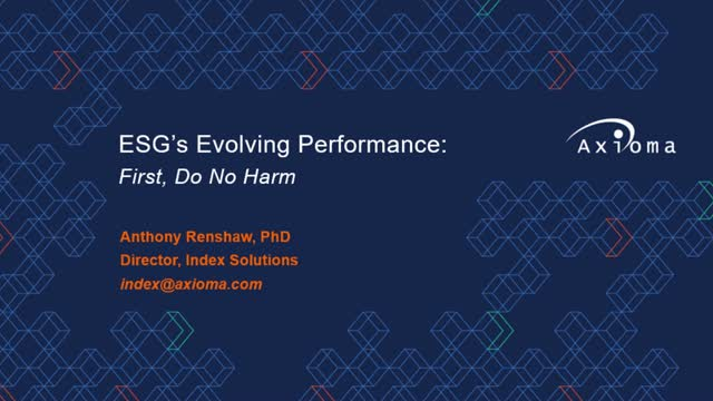 ESG's Evolving Performance: First Do No Harm