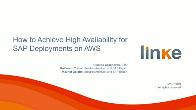 How to Achieve High Availability for SAP Deployments on AWS