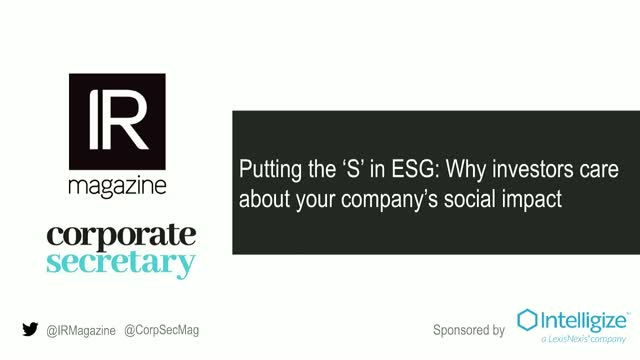 IR Magazine webinar – Putting the 'S' in ESG