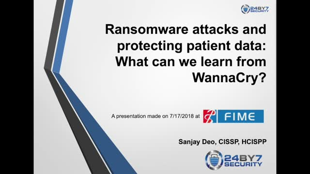 Ransomware Attacks and Protecting Patient Data: What can we learn from WannaCry?