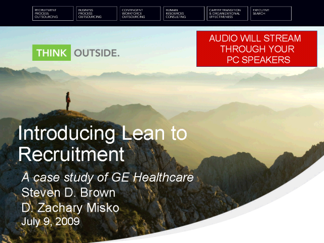A Case Study: LEAN recruitment philosphy at GE Healthcare