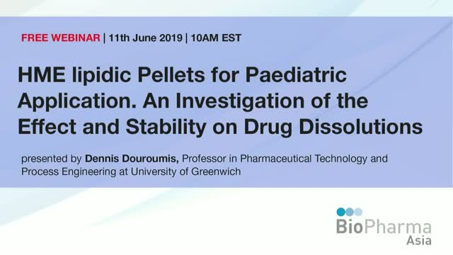 HME lipidic Pellets for Paediatric Application. An Investigation of the Effect a