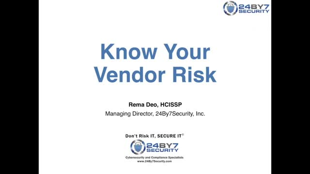 Know your Vendor Risk