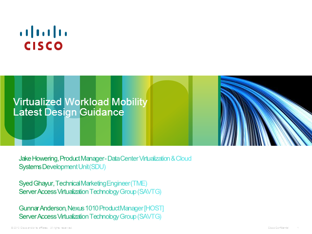 Virtualized Workload Mobility - Latest Design Guidance