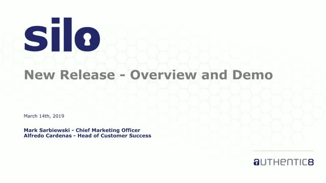 New Release of Silo: Overview and Demo