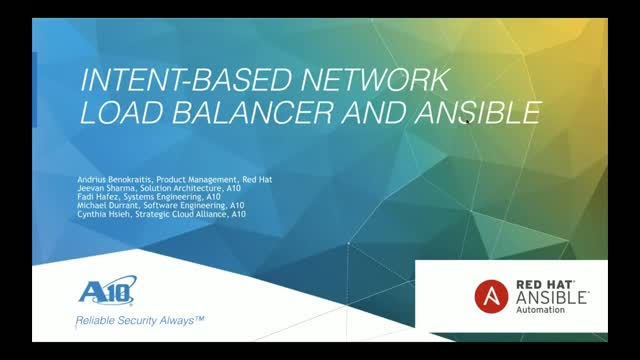 Intent-Based Network Load Balancer And Ansible