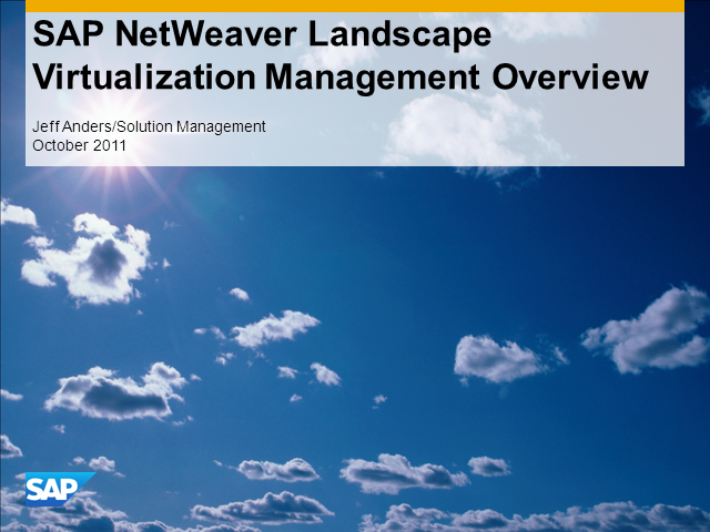 Managing SAP Systems in Virtual and Cloud Infrastructures