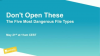 Don't Open These - The Five Most Dangerous File Types