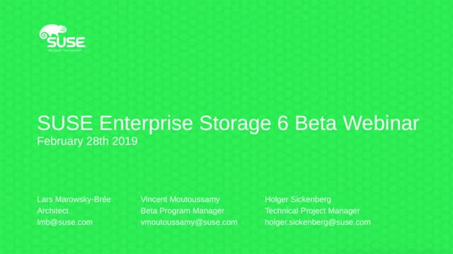 SUSE Enterprise Storage 6 Beta Overview