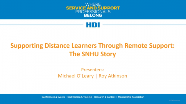 Supporting Distance Learners Through Remote Support: The SNHU Story