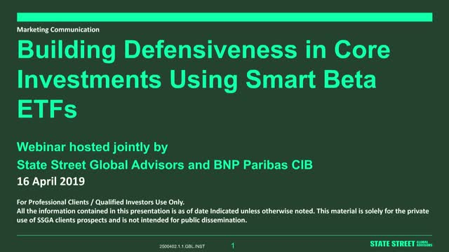 Build Defensiveness in Core Investments Using Smart Beta ETFs