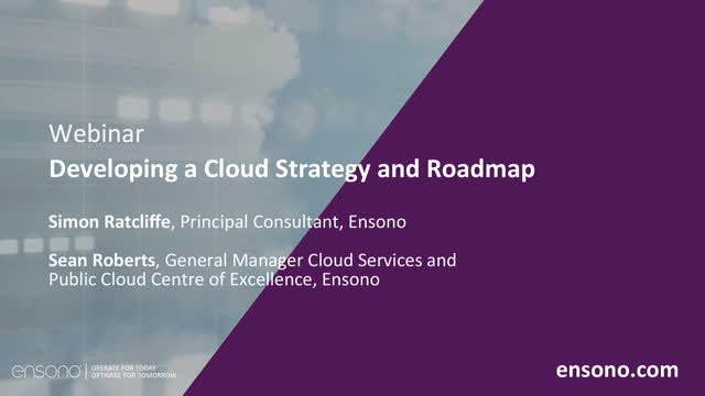 Ensono | Developing a cloud strategy and roadmap