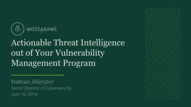 Actionable Threat Intelligence out of Your Vulnerability Management Program