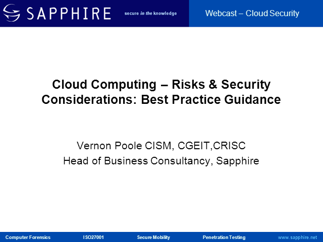 Cloud Computing - Risks & Security Considerations: Best Practices Guidance