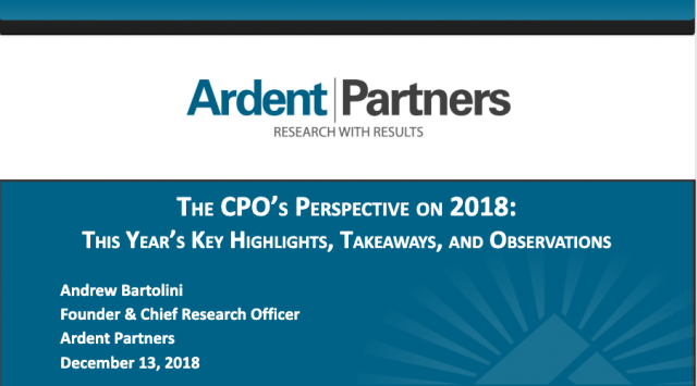 Ardent Partners: The CPO's Perspective on 2018