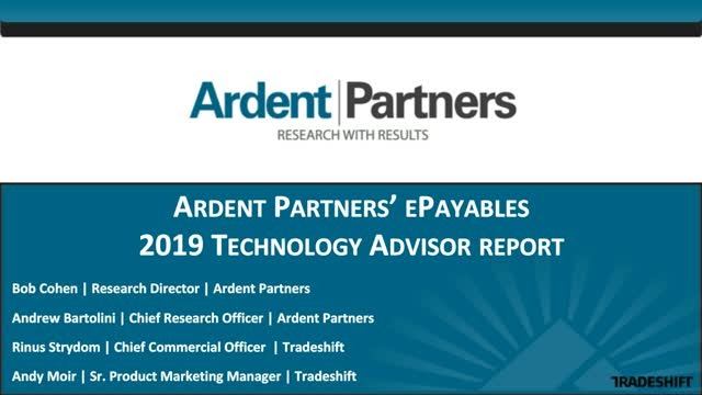 The 2019 ePayables Technology Advisor from Ardent Partners
