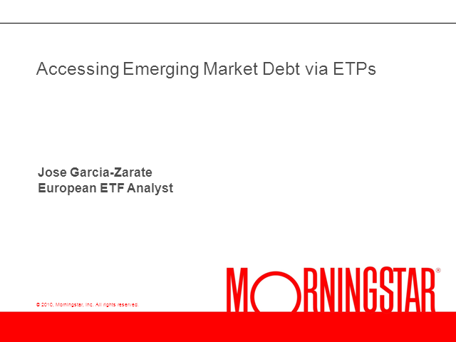 Accessing Emerging Market Debt via ETPs