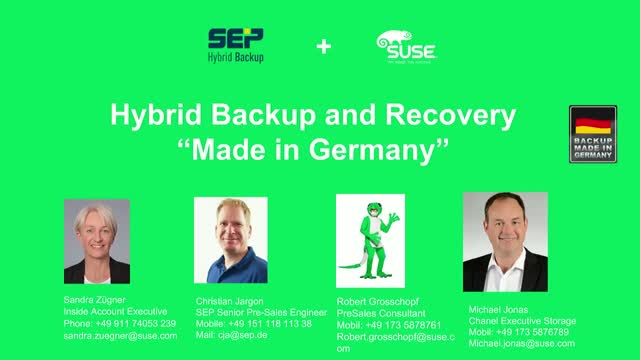 SEP und SUSE: Hybrid Backup and Recovery - Made in Germany