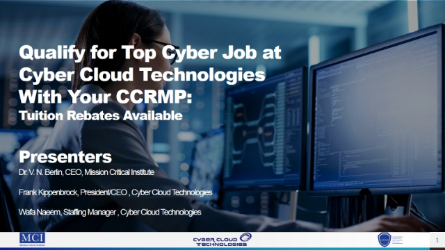Qualify for Cyber Job with CCRMP-- Tuition Reimbursement
