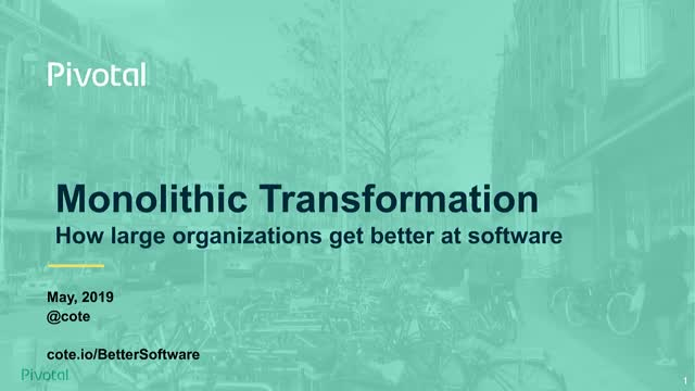 Monolithic Transformation: How Large Organisations Get Better at Software (EMEA)