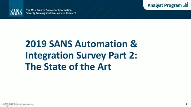 SANS Security Automation and Integration Webinar