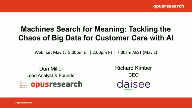 Machines Search for Meaning: Speech Analytics, Customer Care, and AI