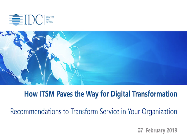 How ITSM Paves the Way for  Digital Transformation