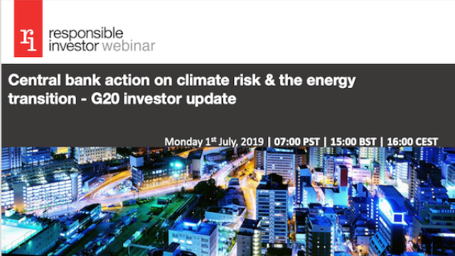 Central bank action on climate risk & the energy transition- G20 investor update