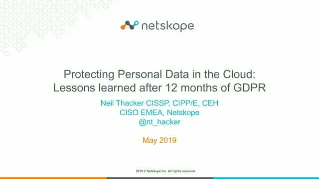 Protecting personal data in the cloud:lessons learned after 12 months of GDPR
