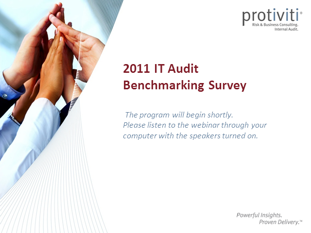 The 2011 IT Audit Benchmarking Survey Webinar