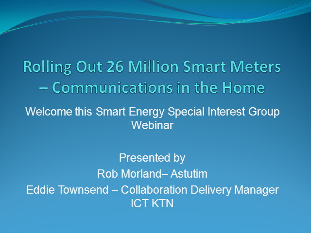 Radio Spectrum Options for Smart Metering in the Home Environment