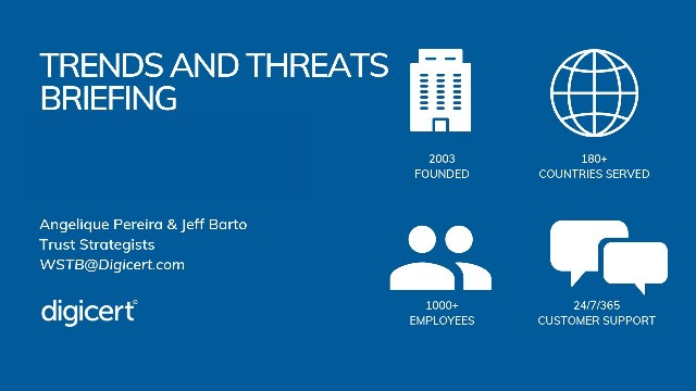 DigiCert Trends and Threats Briefing - November 2019