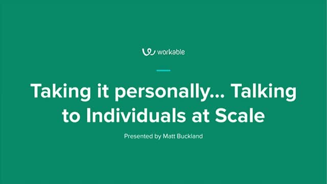 Taking it personally... Talking to Individuals at Scale